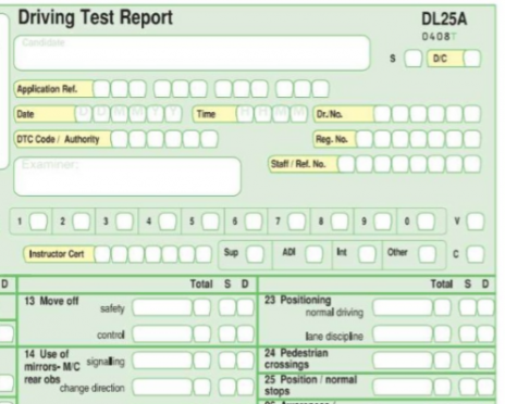 The updated DL25 Examiners marking form